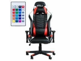 Gaming stol BYTEZONE WINNER z LED osvetlitvijo in daljinskim upravljalcem, Rdeč