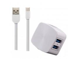 Polnilec REMAX 2.4 A Dual & Lightning kabel RP-U215 EU bel