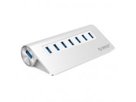 USB hub s 7 vhodi, USB 3.0, zunanje napajanje, aluminij, ORICO M3H7