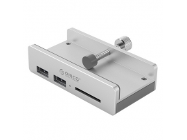 USB hub z 2 vhodoma, USB 3.0, čitalec kartic, zaponka, aluminij, ORICO MH2AC-U3